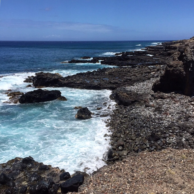 Kaena Point lava rock shoreline