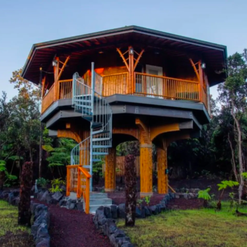 two story bamboo treehouse in Hawaii
