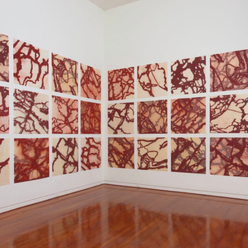 grid of red and white art pieces hung as an installation in a corner Hawaii artists