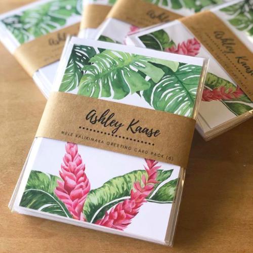 set of nature-inspired Mele Kalikimaka greeting cards by Hawaii artist Ashley Kaase