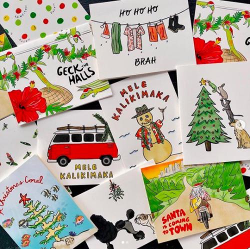 array of Hawaii-themed Christmas cards Hawaii artists
