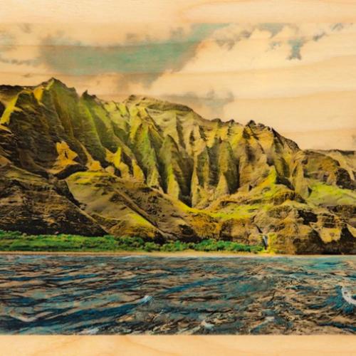 Hawaii artist Lannie Boesiger rendition of the Kalalau Trail on Kauai on wood