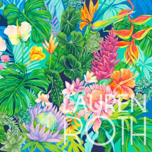 artwork with colorful array of plants including monstera leaves, plumerias, and ginger