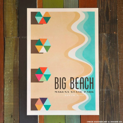 vintage-style poster of Big Beach, Maui by Nick Kuchar