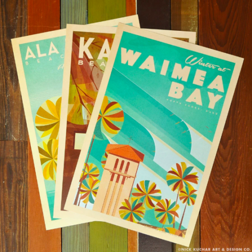 three vintage-style Hawaii posters by Nick Kuchar over wooden background Hawaii artists