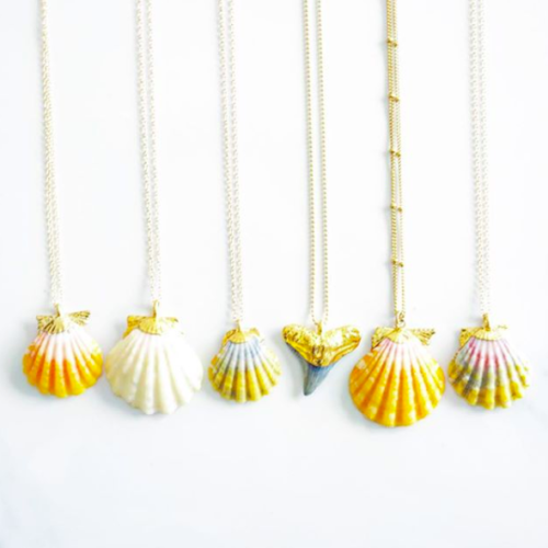 sunrise shell and shark teeth necklaces Hawaii souvenirs