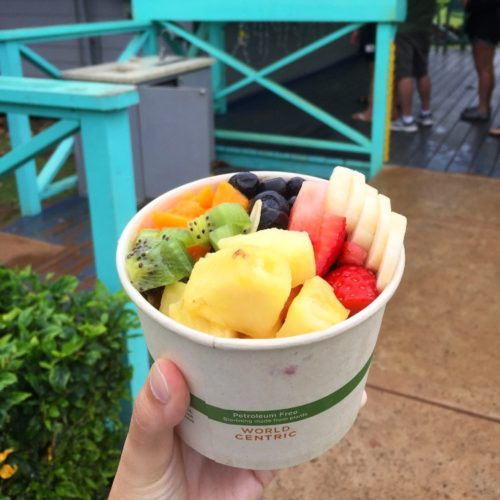 acai bowl topped with an array of fruits Kauai Restaurants