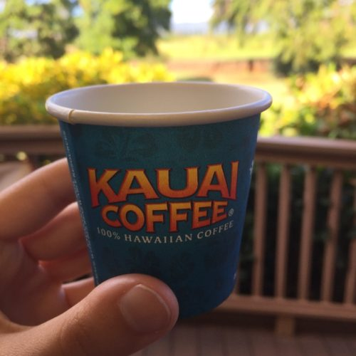 hand holding bright blue and orange Hawaii coffee cup
