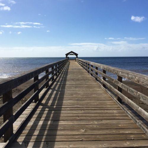 wooden pier over black sand beach going into ocean