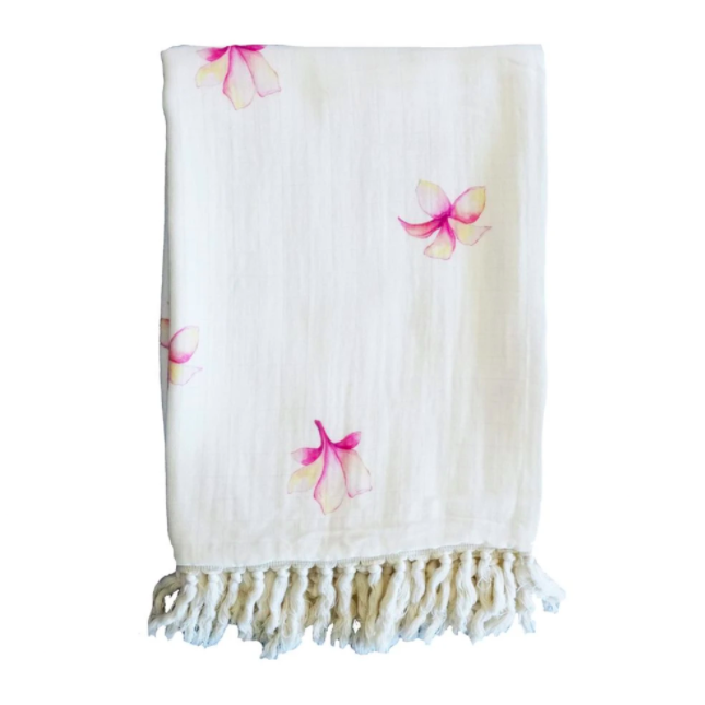 folded plumeria blanket Hawaiian home decor