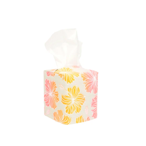 tissue box covered in warm hibiscus pattern Hawaiian home decor