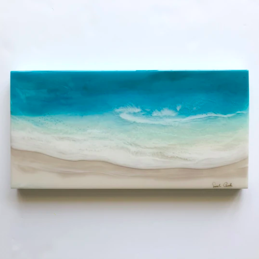 horizontal ocean resin piece by Sarah Caudle Hawaiian home decor