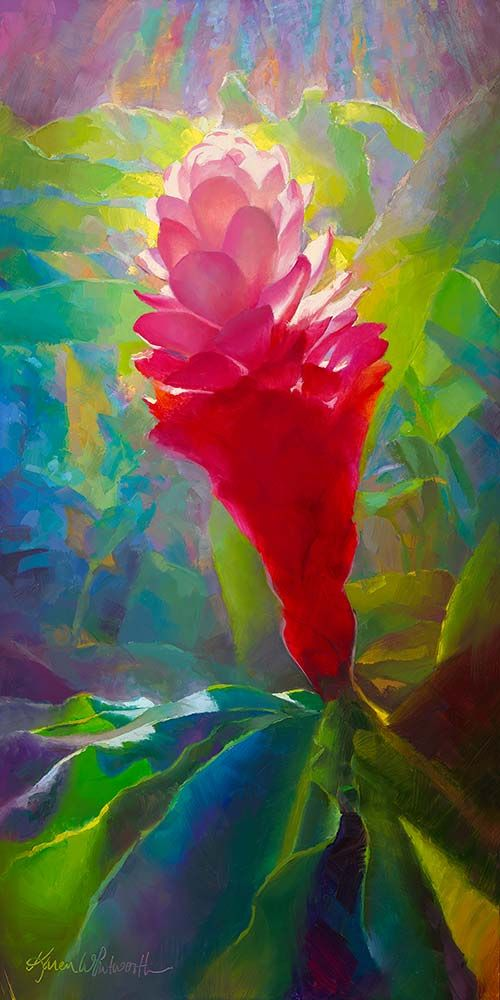 painting of pink ginger plant Hawaiian flowers