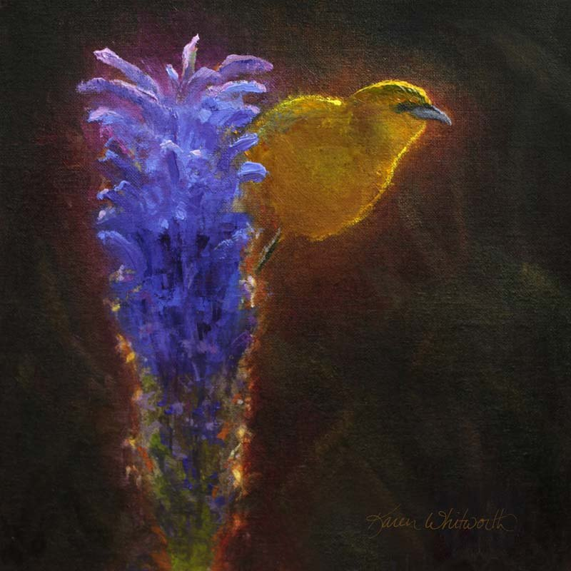 painting of yellow bird perched on blue flowering plant
