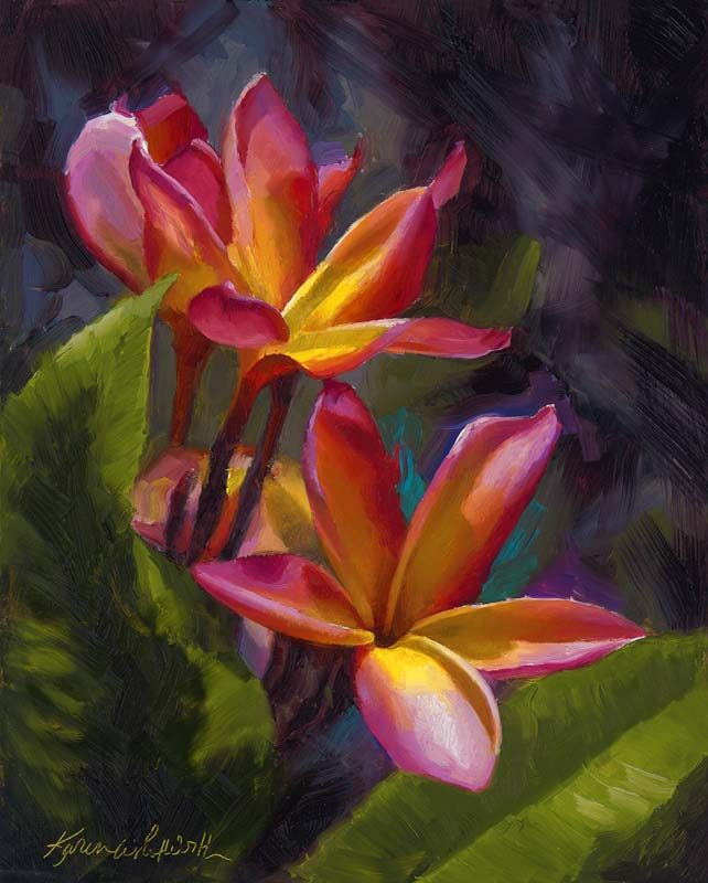 painting of two pink and yellow plumerias Hawaiian flowers