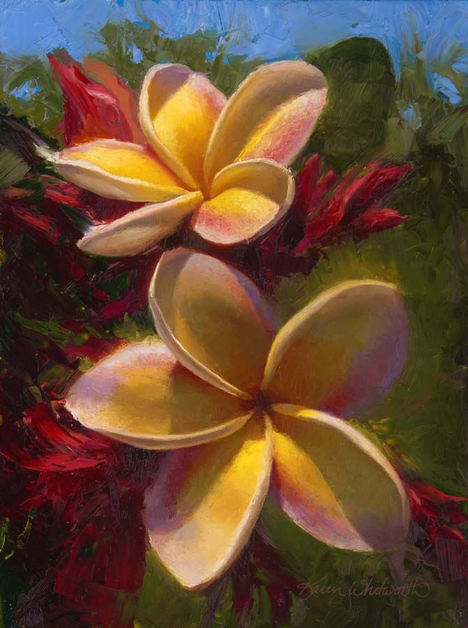 painting of two yellow and pink plumerias