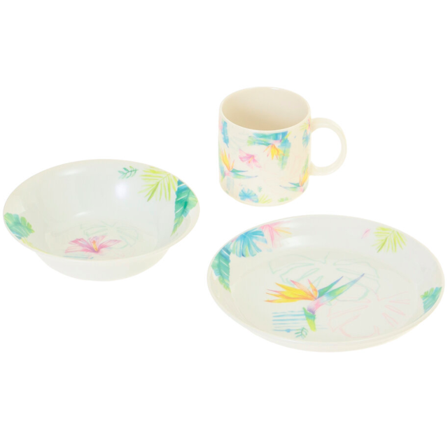 mug, cup, and plate with bird of paradise theme Hawaiian home decor