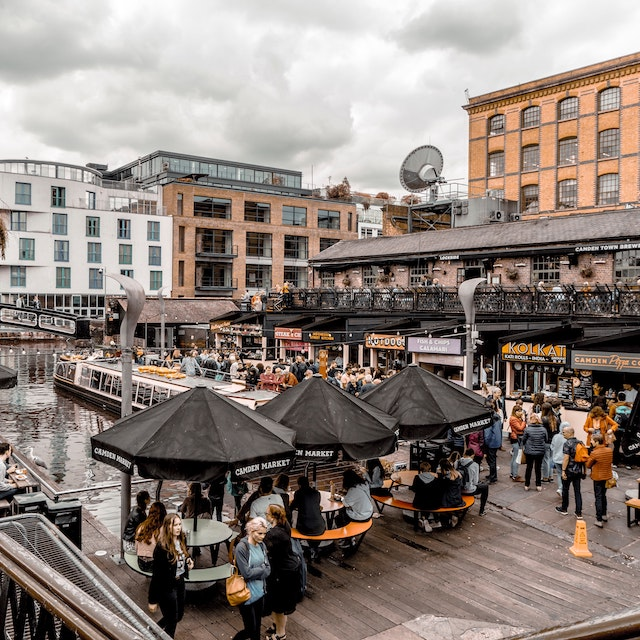 rainy day in London at the food booths of Camden Market