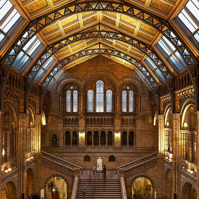 golden interior of London's Natural History Museum