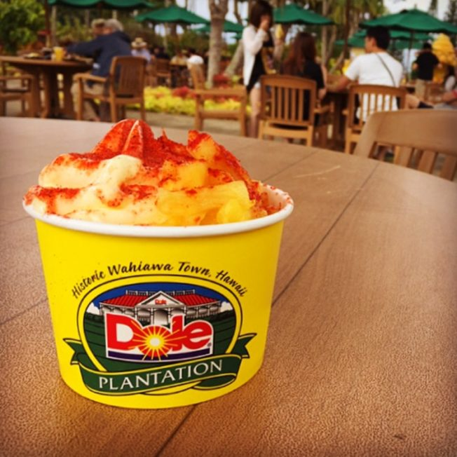 Dole whip topped with li hing mui powder desserts in Hawaii